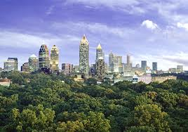Atlanta skyline behind trees